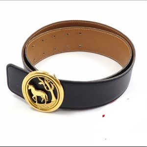 Authentic HERMÈS gold horse black belt
